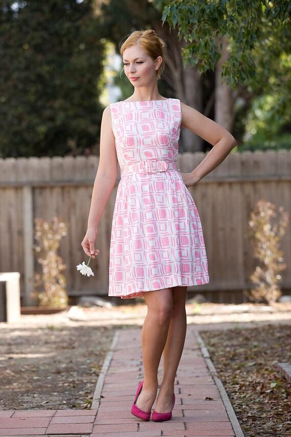 1960's cotton candy pink and white sleeveless dress Small/ Medium