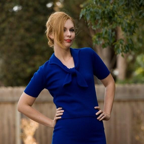 1950's- 1960's ROYAL blue sailor sweater knit top and skirt set Small/ Medium