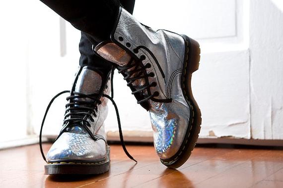 Silver Hologram Doc Martens Boots  UK 7 / US 9