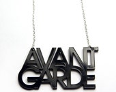 avant garde typography acrylic necklace