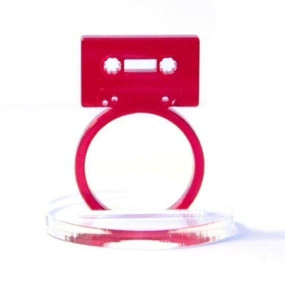 cassette tape acrylic ring (red)
