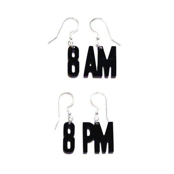 acrylic time earrings - 8am / 8pm