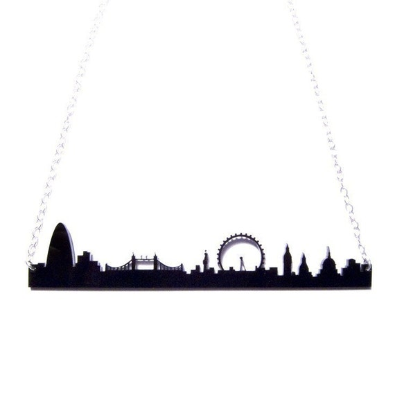 london england skyline acrylic necklace