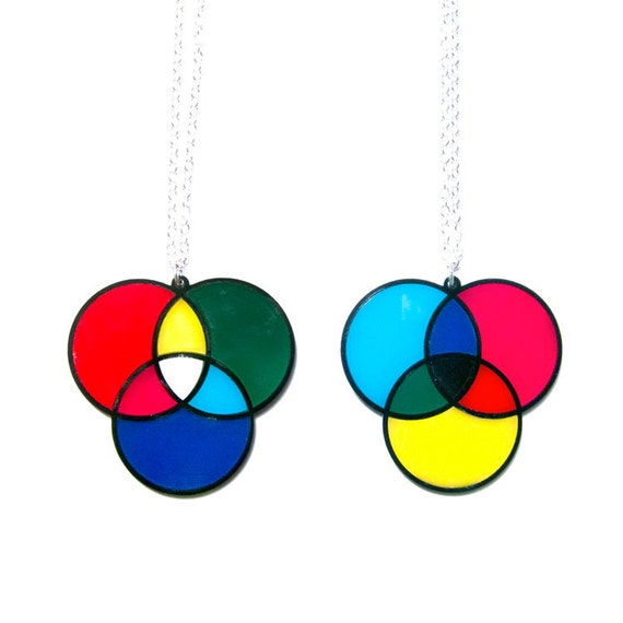 RGB and CMY color model necklaces -- limited edition