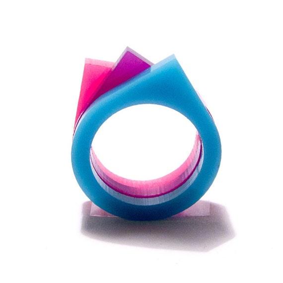 color triptics teardrop ring - brights