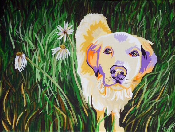 """16x20"""" Original Painting of a Lab in the Grass"""