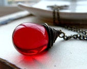 Cherry oh baby - Wire wrapped crimson red glass bauble and antiqued brass necklace