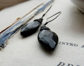 Shadow thief - Wire wrapped black onyx gemstone and oxidized sterling silver earrings