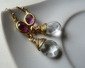 SALE - Muse- Fall in love with Erato -Vintage Swarovski crystal connector earrings