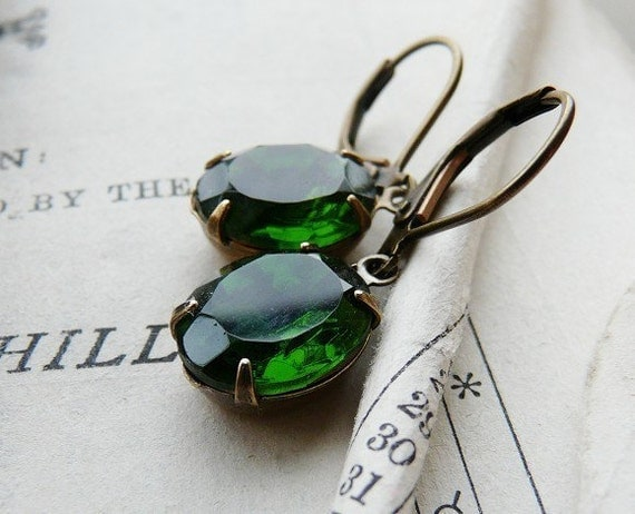 Vintage glass jewel earrings - Lucky enough