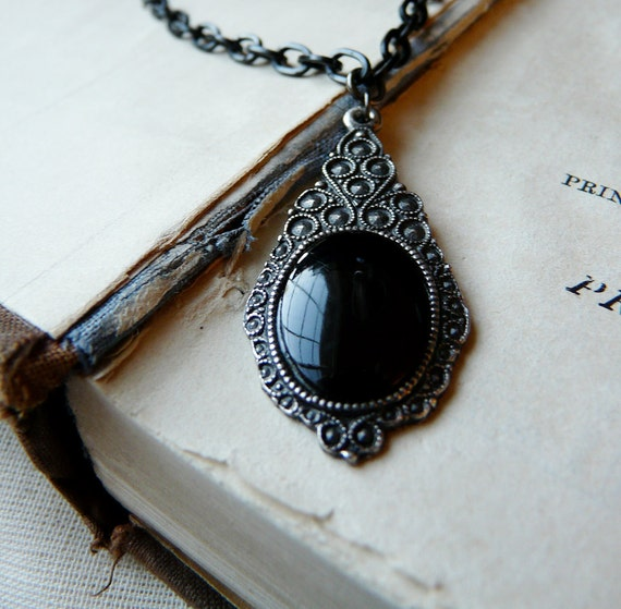 Dreams of a shadow - Mixed metals repurposed gothic necklace