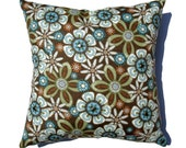 """Riveted Funky Fall Floral 16"""" DECORATIVE PILLOW COVER Olive Green Stripes by JillianReneDecor Retro Fall Home Decor Under 40"""