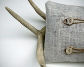 Deer Antler PILLOW COVER OOAK Buttons Cream Burlap Twine Masculine Home Decor Cabin Gift for Him Father's Day