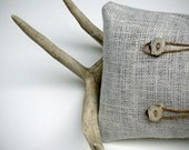 Deer Antler PILLOW COVER OOAK Buttons Cream Burlap Twine Masculine Fall Home Decor by JillianReneDecor Cabin Gift for Him - JillianReneDecor
