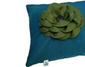 "16"" DESIGNER PILLOW COVER - Green Felt Flower - Teal Linen - Wood Button by JillianReneDecor Winter Home Decor (Ready to Ship)"
