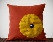 "Mustard Yellow Felt Flower Pillow Navy Button Rust Linen 16"" DECORATIVE PILLOW COVER by JillianReneDecor Bright Summer Color Block Decor - JillianReneDecor"