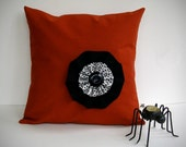 "16"" HALLOWEEN PILLOW COVER Pumpkin Orange Linen - Black Felt - White Black Triangles with Button  by JillianReneDecor"