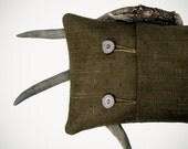 Deer Antler Decor PILLOW COVER with Natural Buttons in Wheat Burlap by JillianReneDecor Jute Twine Rustic Woodland Cabin Fall Winter Home