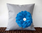 "16"" DESIGNER PILLOW COVER Blue Felt Flower Button Accent in Pewter Gray by JillianReneDecor Bright Winter Home Decor"