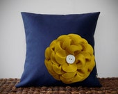 "Mustard Yellow Felt Flower Navy Blue Linen 16"" PILLOW COVER by JillianReneDecor Ceramic Button Detail Spring Home Decor Bedding Sofa Accent"