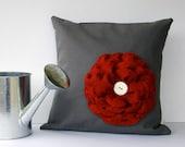 """16"""" DESIGNER PILLOW Red Felt Flower Charcoal Gray Linen White Ceramic Button by JillianReneDecor Spring Home Decor"""