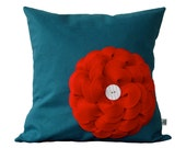 Red Felt Flower DESIGNER THROW PILLOW in Teal Linen with White Ceramic Retro Button by JillianReneDecor Bright  Colorful Home Decor
