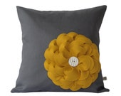 Mustard Yellow Felt Flower PILLOW COVER Charcoal Gray Linen with Cream Ceramic Button by JillianReneDecor Fall Home Decor Gift for Her