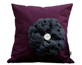 "Purple Linen - Charcoal Gray Felt Flower 16"" DECORATIVE PILLOW COVER - Ceramic Button Home Decor Gift for Her by JillianReneDecor"
