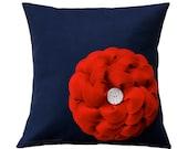 Red Felt Flower Navy Blue Linen 16in PILLOW COVER Cream Button Accent by JillianReneDecor Summer Home Decor Patriotic