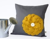 16in PILLOW COVER Charcoal Gray Linen Mustard Yellow Felt Flower with Ceramic Button by JillianReneDecor Spring Home Decor