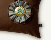 """14"""" Button Flower PILLOW COVER - Chocolate Brown - Burlap Blue Stripe Golden Blossom Accent by JillianReneDecor Home Decor (Ready to Ship)"""