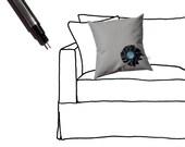 "14"" PILLOW COVER - Pewter Gray - Modern Blue Black White Button Blossom by JillianReneDecor on Etsy"