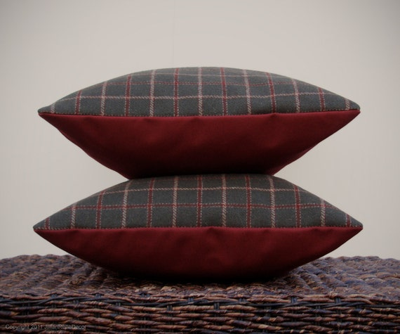 "16"" DECORATIVE PILLOW COVER - Winter Wool Plaid - Dark Green Cranberry Red Decor by JillianReneDecor on Etsy"