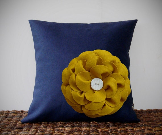 "Mustard Yellow Felt Flower Navy Blue Linen 16"" PILLOW COVER by JillianReneDecor Ceramic Button Detail Spring Home Decor Bedding Sofa Accent"
