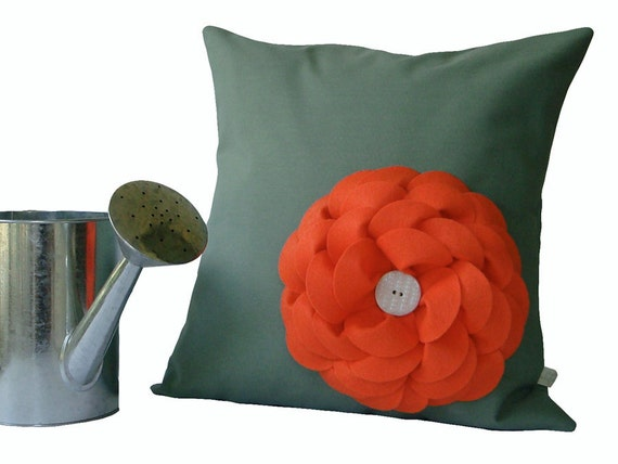 Coral Felt Flower PILLOW COVER in Pale Mint Green Floral Home Decor by JillianReneDecor (Ready to Ship)