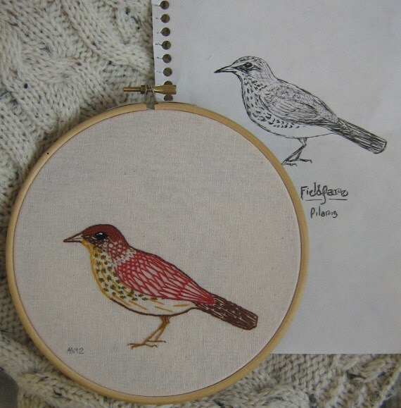 Fieldfare in autumn colours, hand embroidery