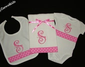 Curlz Texture Monogram Embroidery - Ribbon Bodysuit - Burp Cloth and Bib  3 piece Set - Baby Shower Gift or Gift Set - FREE SHIPPING