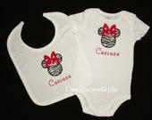 Personalized Minnie Big Bow and Zebra - Bodysuit and Bib  2-piece - Baby Shower Gift - Gift Set
