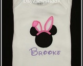 Minnie Ears Easter Bunny - Size 3M,6M,9M,12M,18M,2T,3T,4/5,6/7,8, 10 years