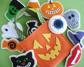 Reserved Listing - Do not purchase unless you are amyblais - Sewn Sweets Jack-o-Lantern Felt Tote with Halloween Sugar Cookies