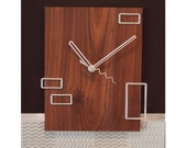 Modern brown 13.5 x 10.5 clock with floating metal rectangles