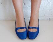 blue satin mary jane heels (us  7.5/us 38)