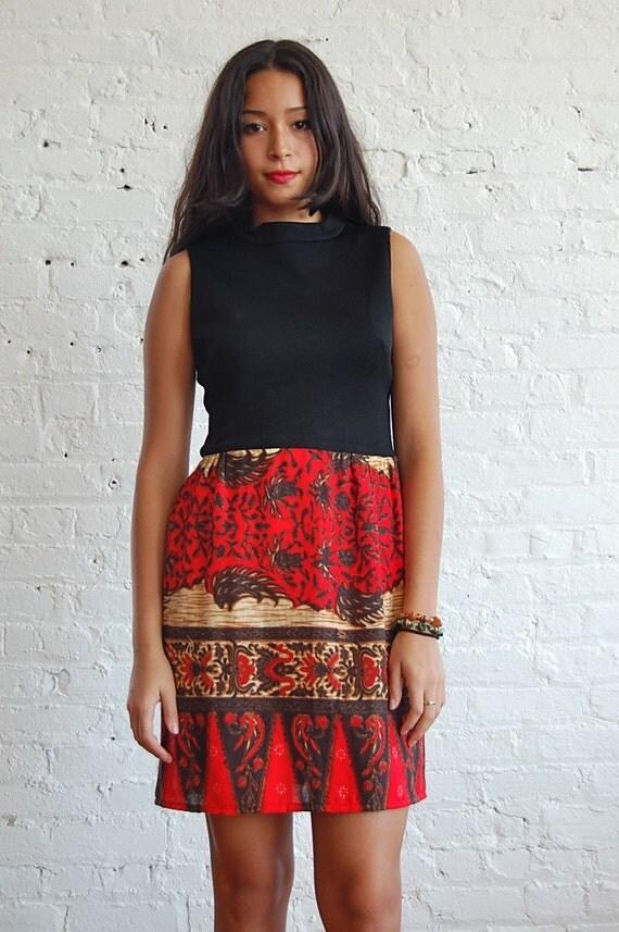 red black print dress (s-m)