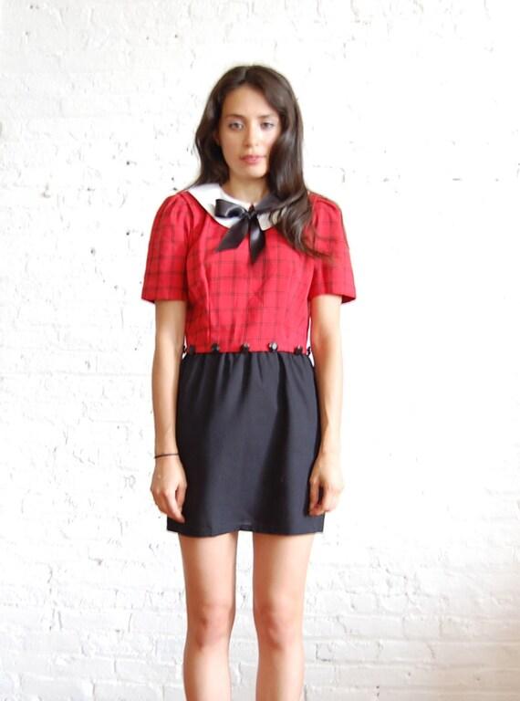SALE  school girl red plaid dress (s)