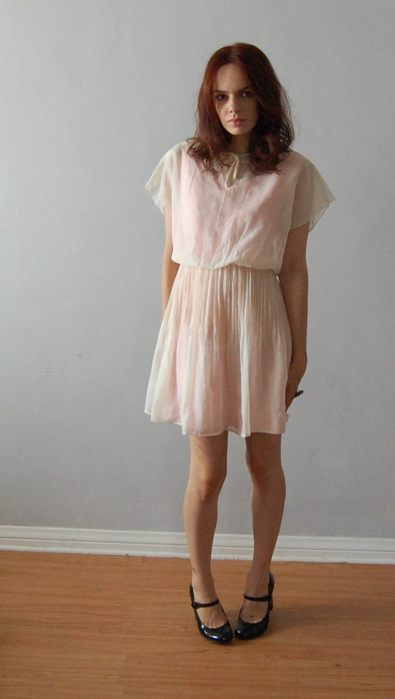 Vintage SWEETIE pink white layered dress.