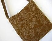 SALE Handbag Purse - Little Brown Bag - Embroidered Brown Fabric - 25% OFF SALE