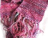 SALE - Red Sky at Night Long Soft Moss Stitch Wraparound Scarf