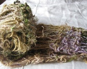 Gold and Green Recycled Sari Silk Hand Knit Scarf