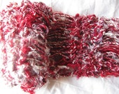 Red and Cream Recycled Banana Silk Hand Knit Scarf