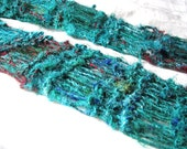 Green Emerald City Recycled Sari Silk Hand Knit Scarf